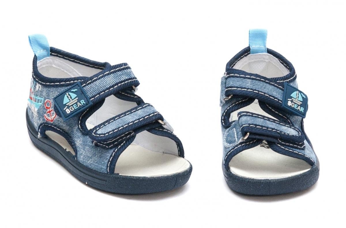 Sandale baieti flexibile cu brant din piele 1112 albastru 20-25