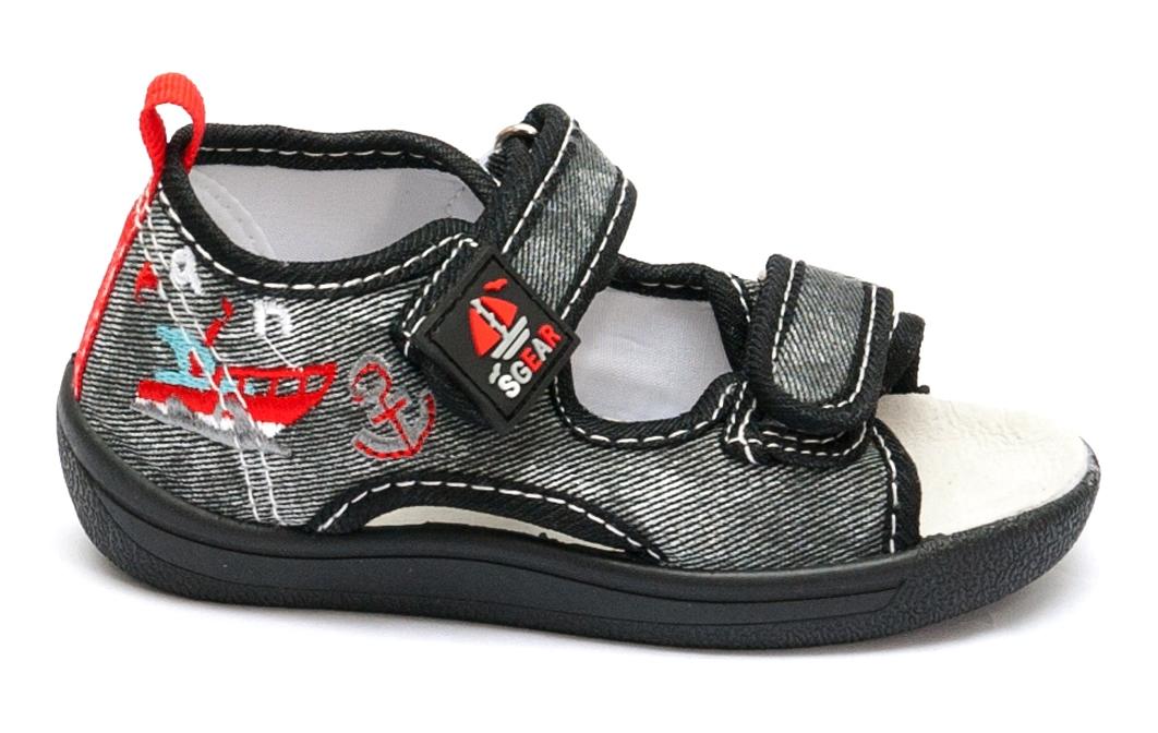 Sandale baieti flexibile cu brant din piele 1112 negru gri 20-25