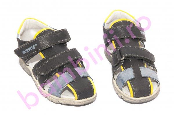 Sandale baieti hokide picior lat 357 gri albastru galben 28-32