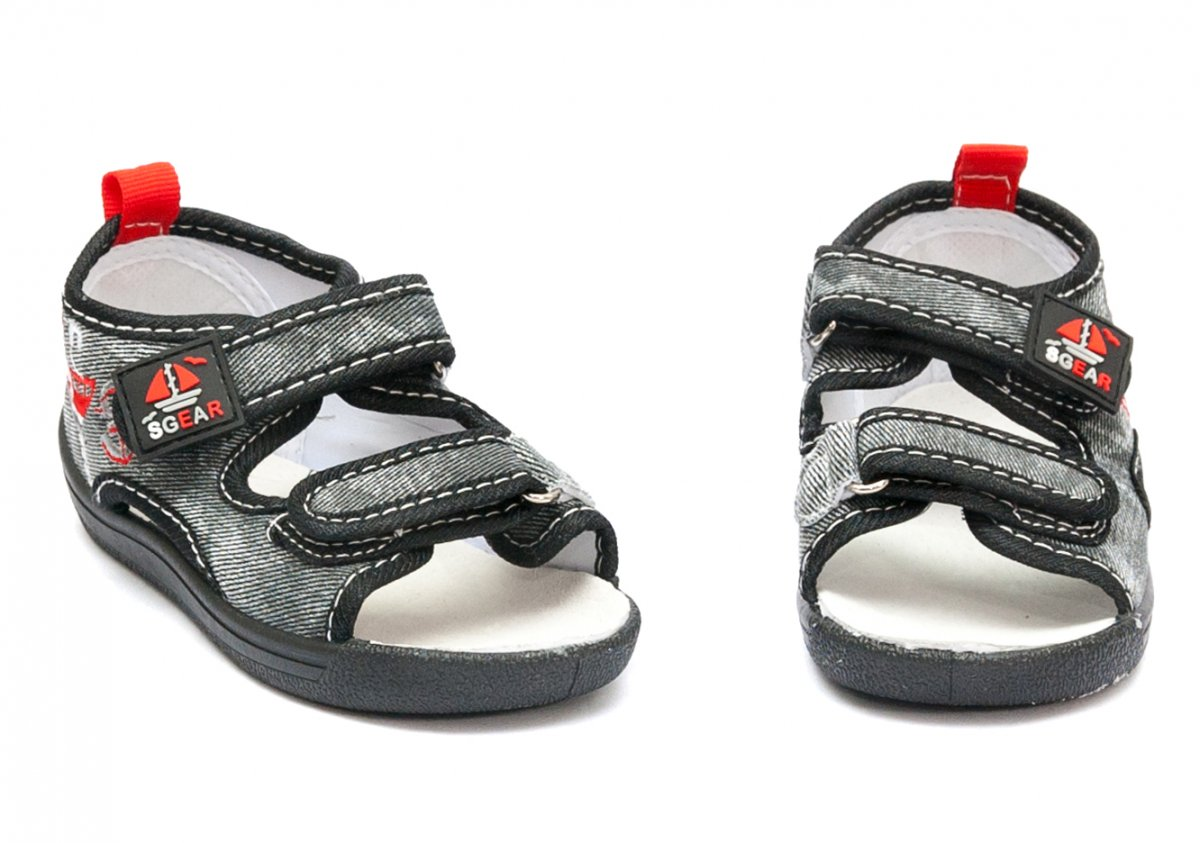 Sandale baieti moi si flexibile brant piele 1112 negru gri 20-25