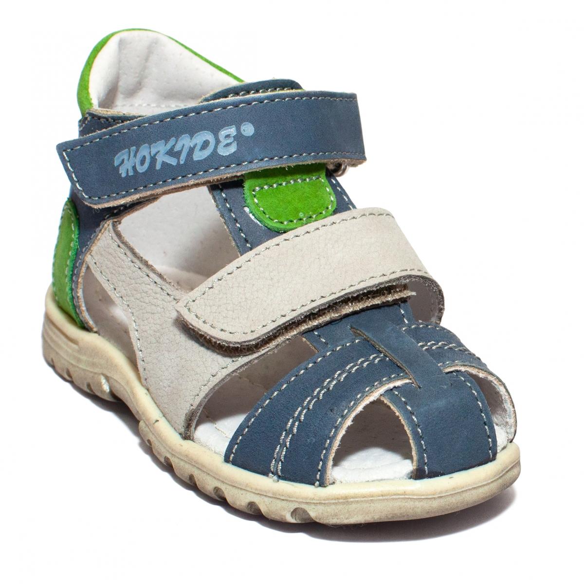 Sandale baieti picior lat hokide 405 albastru gri verde 18-27