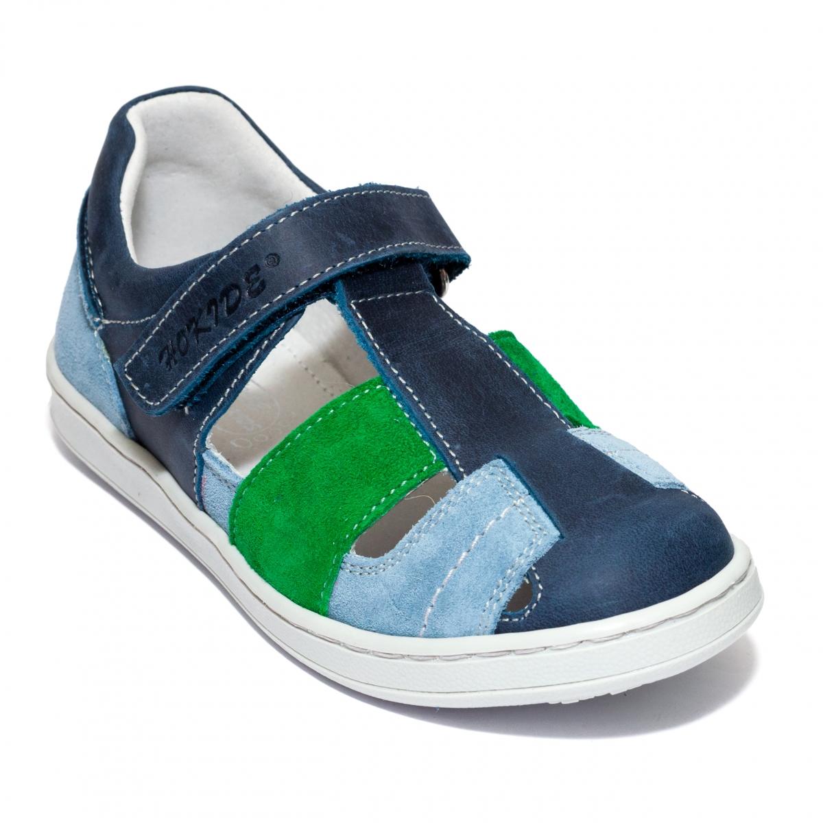 Sandale baieti piele hiokide 422 blu verde albastru 26-35