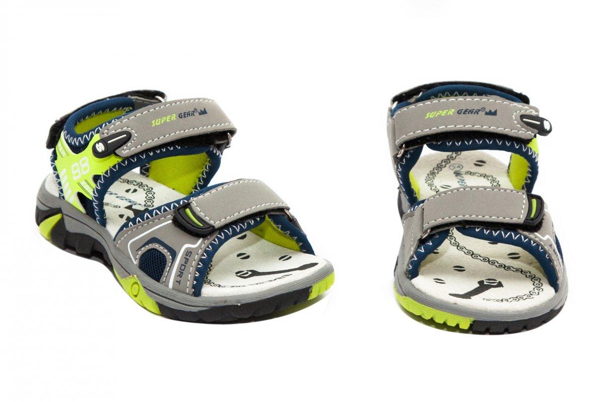 Sandale baieti super gear 482 gri blu verde 24-35
