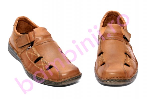 Sandale barbati piele naturala 170030 maro 40-46