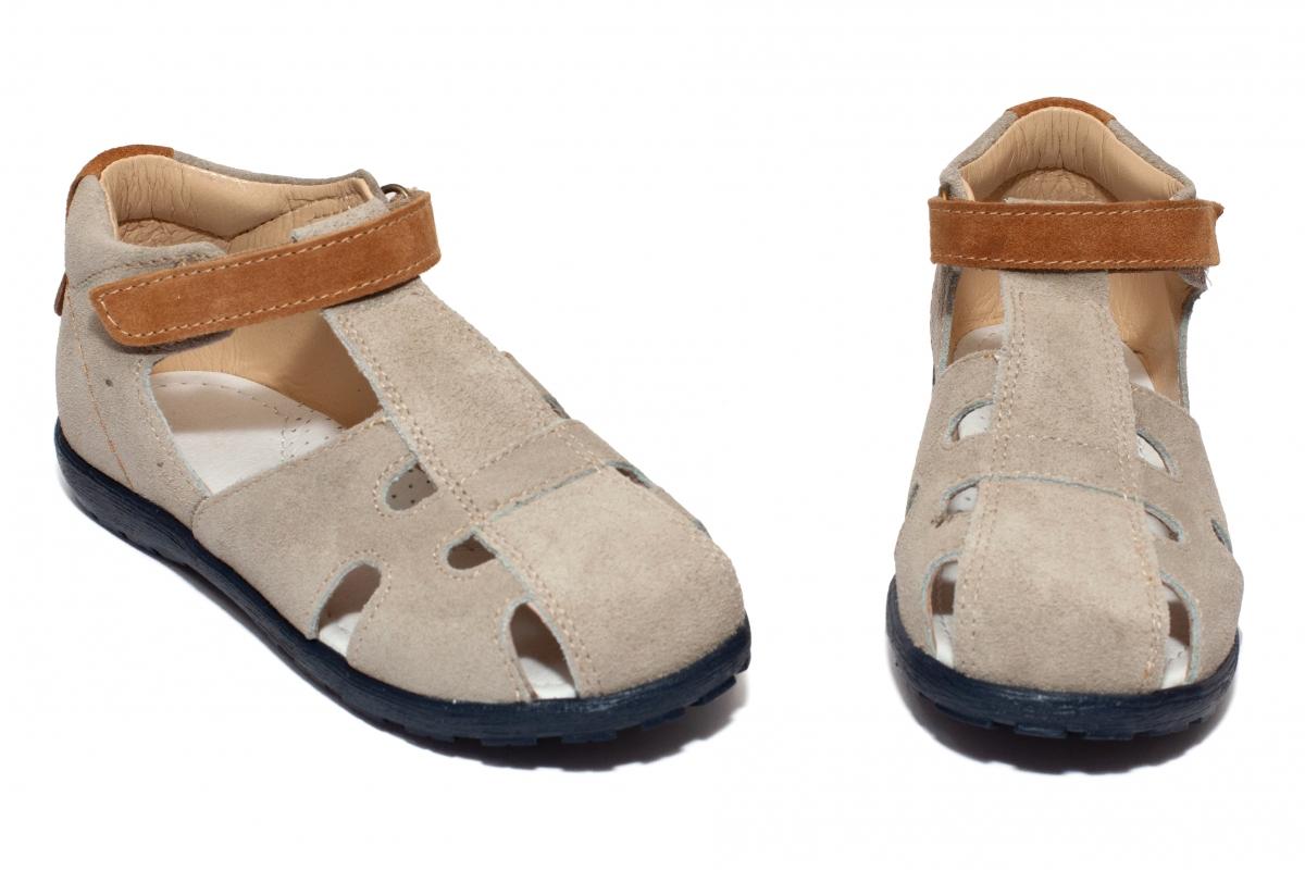Sandale copii avus din piele 2662 gri maro 26-30