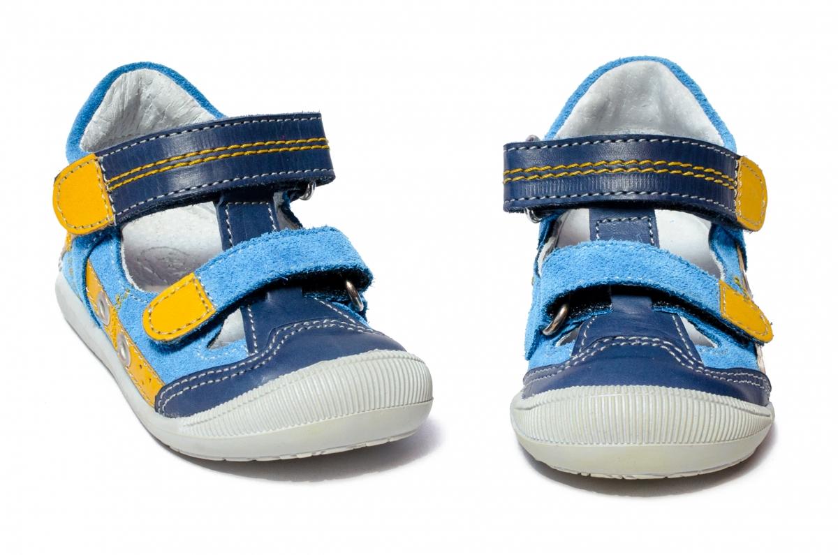 Sandale copii flexibile hokide 386 albastru galben 18-25
