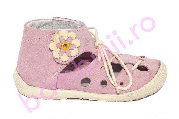 Sandale copii flexibile piele intoarsa 211401 roz 17-22