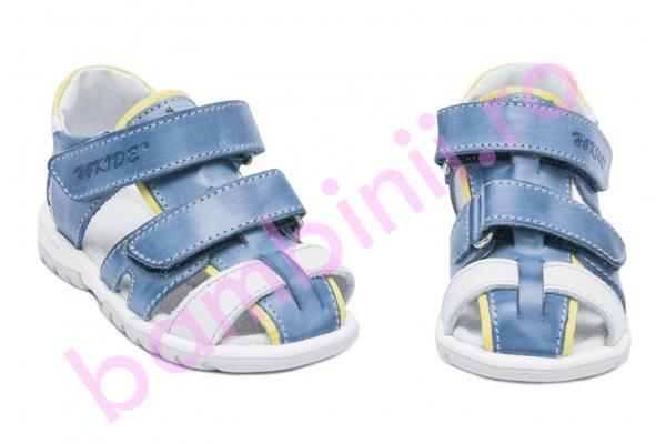Sandale copii hokide picior lat 357 albastru galben 22-27