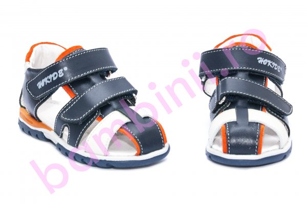 Sandale copii hokide picior lat 357 blu portocaliu 22-32