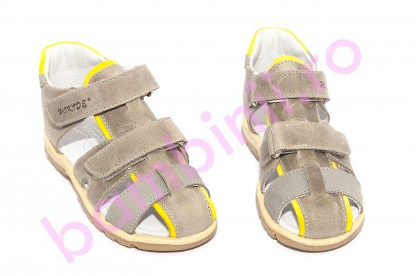 Sandale copii hokide picior lat 357 gri galben 28-32