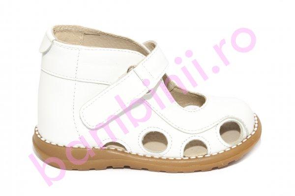 Sandale copii picior lat gros pufos 550 alb 18-25