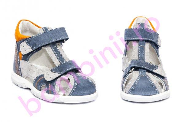 Sandale copii picior lat hokide 311 blu gri portocaliu 18-27