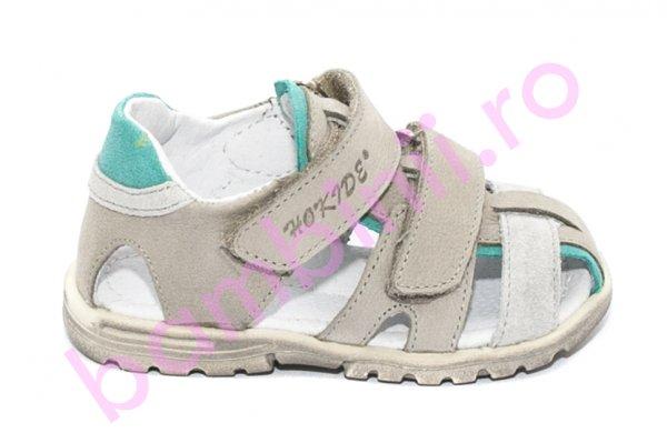 Sandale copii picior lat hokide 357 gri verde 22-27