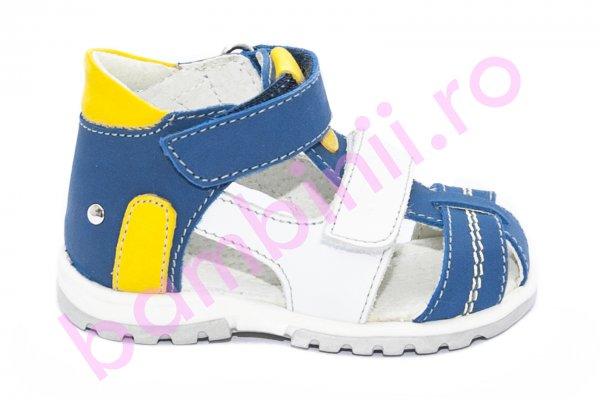 Sandale copii picior lat hokide 405 albastru galben alb 18-25
