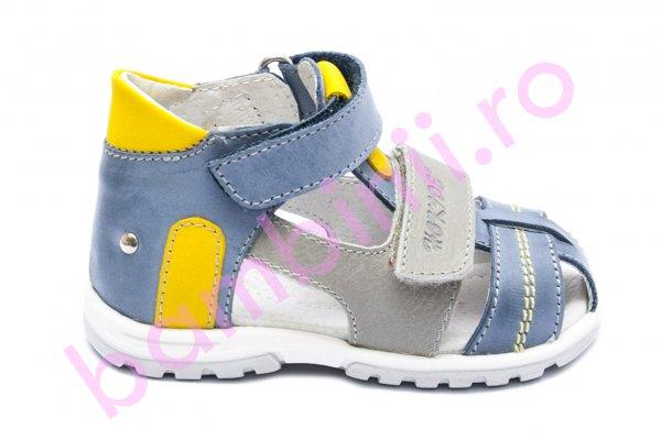 Sandale copii picior lat hokide 405 albastru galben gri 18-27