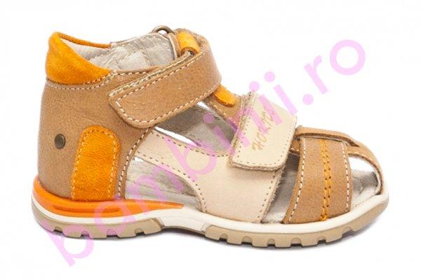 Sandale copii picior lat hokide 405 bej cafe port 18-25