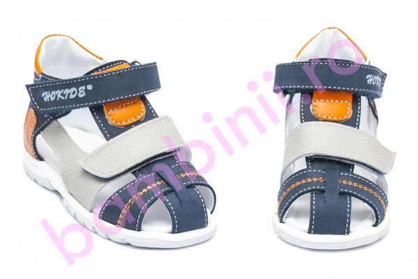 Sandale copii picior lat hokide 405 blu gri port 18-27