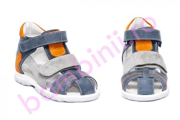 Sandale copii picior lat hokide 405 blu gri portocaliu 18-27