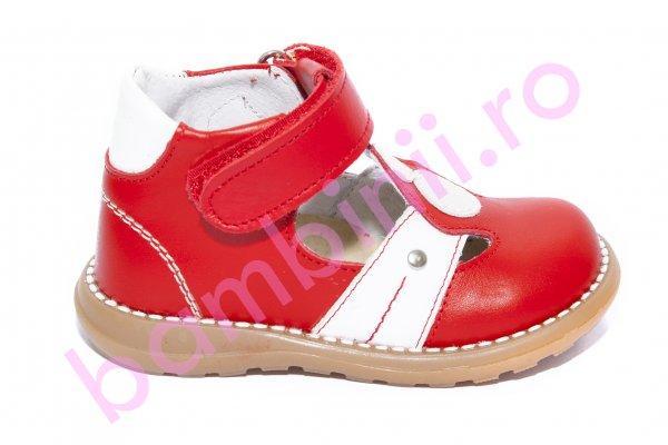 Sandale copii piele 1323 rosu alb 18-25