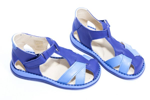 Sandale copii piele 346 blu gri 18-25
