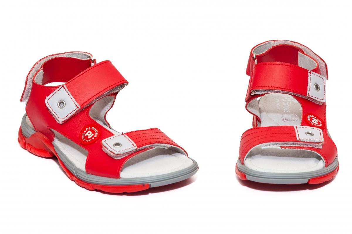 Sandale copii piele Pj Shoes Roy rosu 27-36