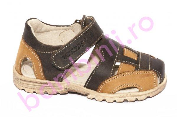 Sandale copii piele naturala hokide 109 maro inchis 26-30