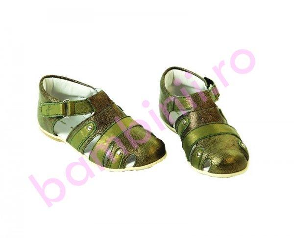 Sandalute piele copii Pantera verde