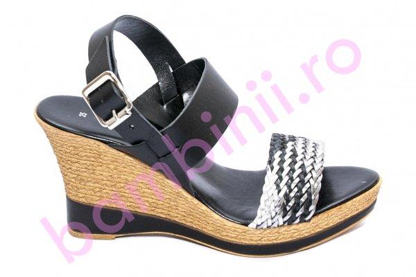 Sandale cu platforma dama piele naturala 072 negru 35-41