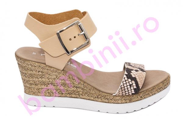 Sandale dama cu platforma piele naturala U222 maro bej 35-41