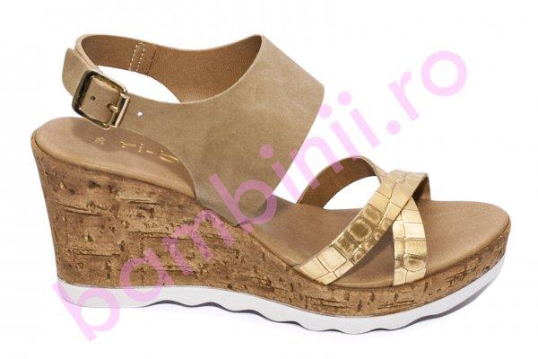 Sandale dama cu platforma piele naturala U386 auriu bej 35-41