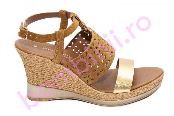 Sandale dama cu platforma piele naturala U435 maro bej 35-41