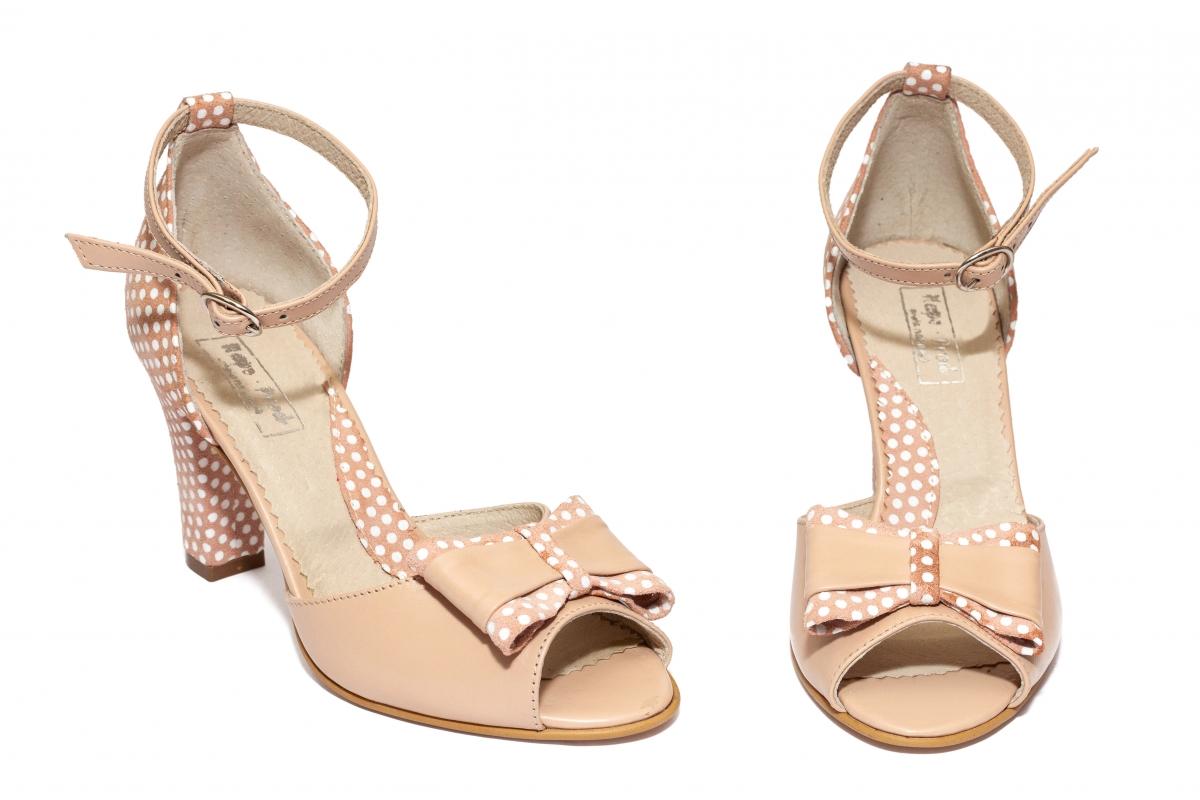 Sandale dama cu toc 952 bej roz buline 34-40
