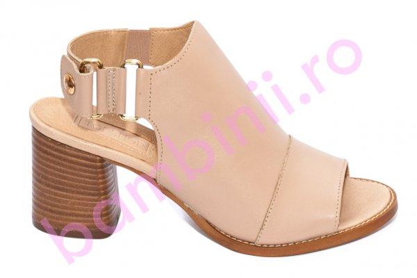 Sandale dama cu toc gros 1443 bej 35-42
