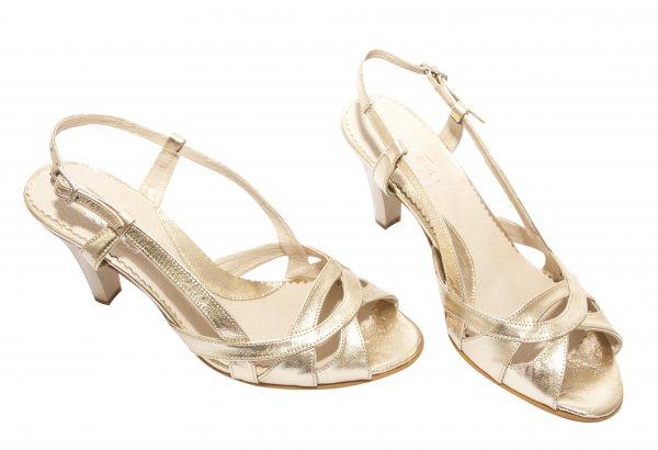 Sandale dama cu toc piele 576 auriu 34-41