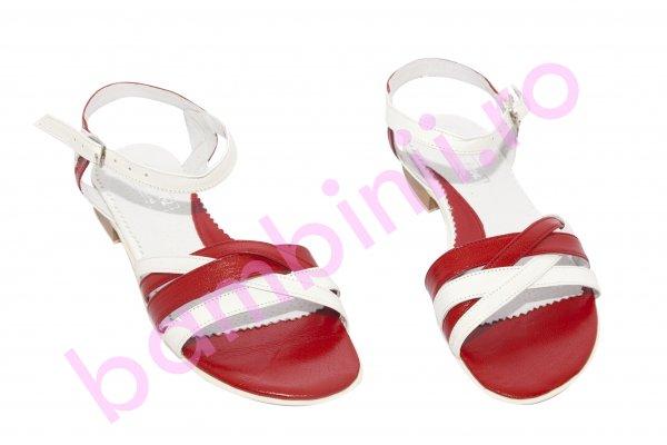 Sandale dama piele 121.8 alb rosu 34-41