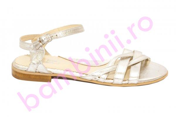 Sandale dama piele naturala 121.8 auriu 34-41