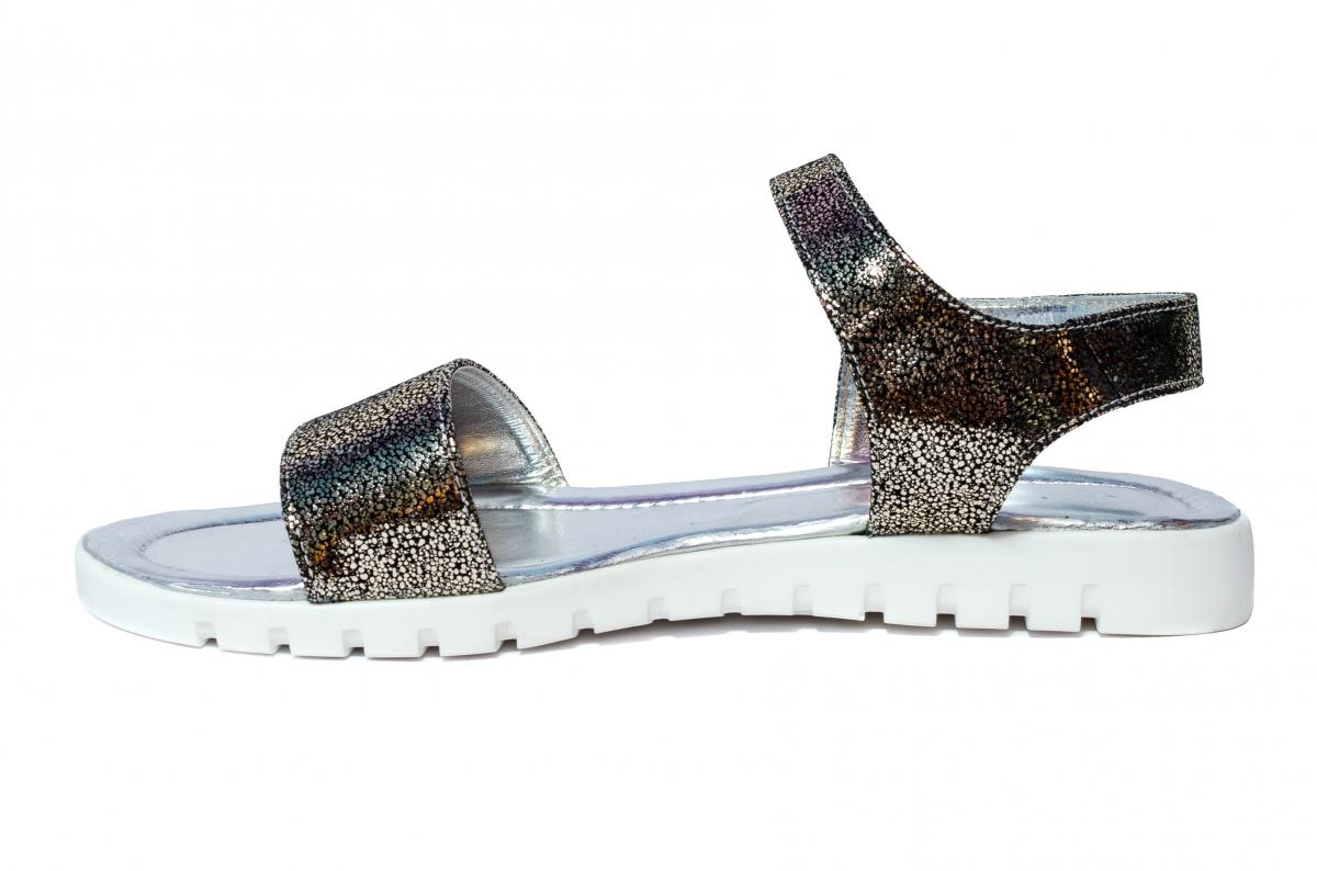 Sandale dama piele naturala 222 negru argintiu 36-41