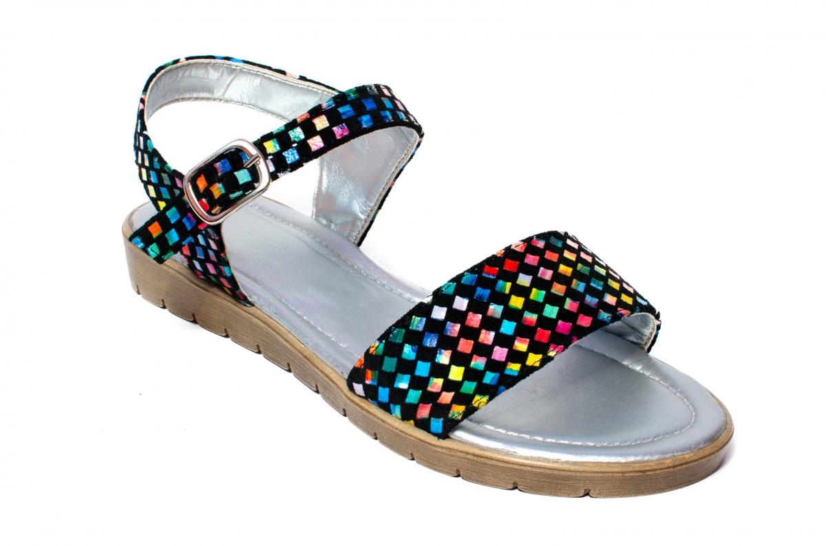 Sandale dama piele naturala 222 negru sah 36-41