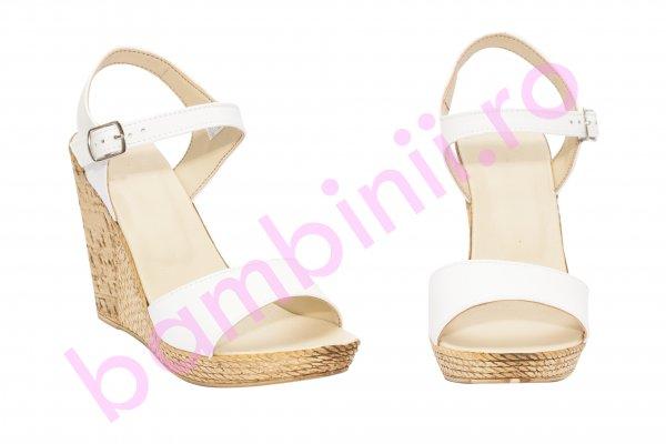 Sandale dama platforma piele Tisa 387 alb 34-40