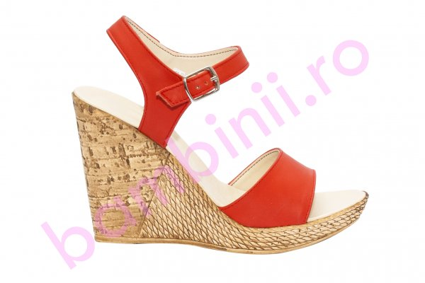 Sandale dama platforma piele Tisa 387 corai 34-40
