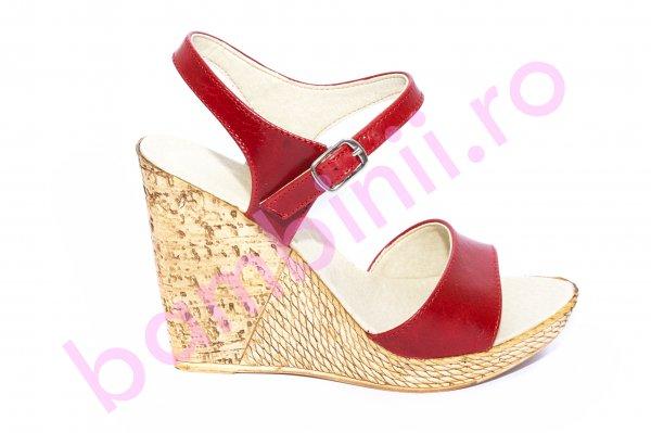 Sandale dama platforma piele Tisa 387 rosu 34-41