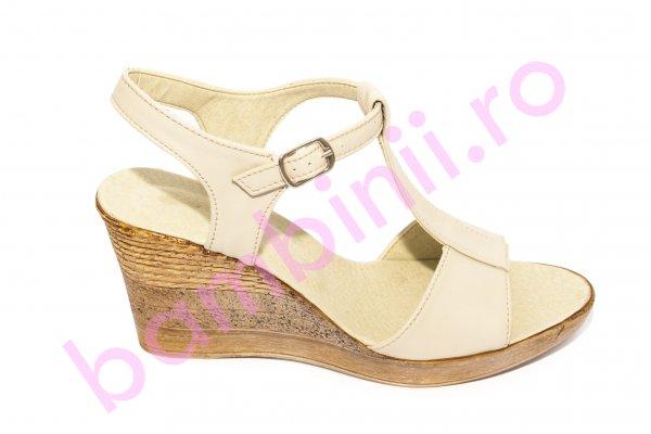 Sandale dama platforma piele Tisa 388 bej 34-41