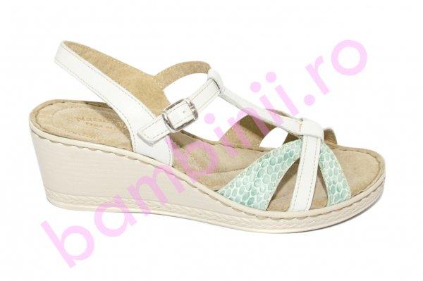 Sandale dama platforma piele naturala 512 alb turcoaz 35-41
