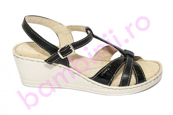 Sandale dama platforma piele naturala 512 negru lac 35-41