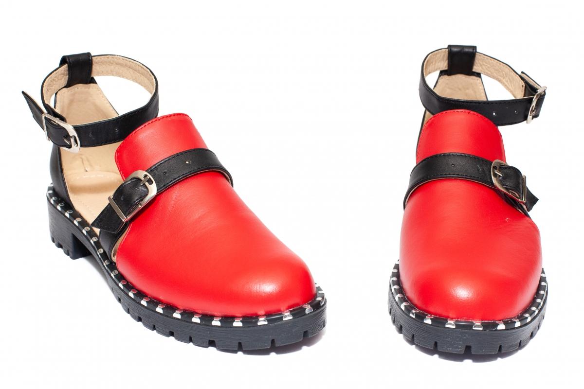 Sandale domnisoare piele 1803 Cika rosu negru 35-40