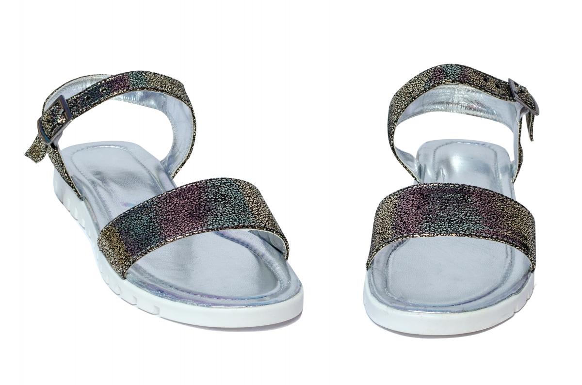 Sandale domnisoare piele naturala 222 negru argintiu 36-41