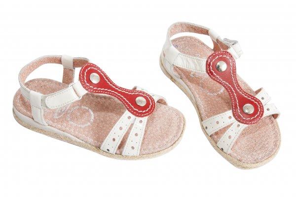 Sandale fete 5233 alb rosu 24-36