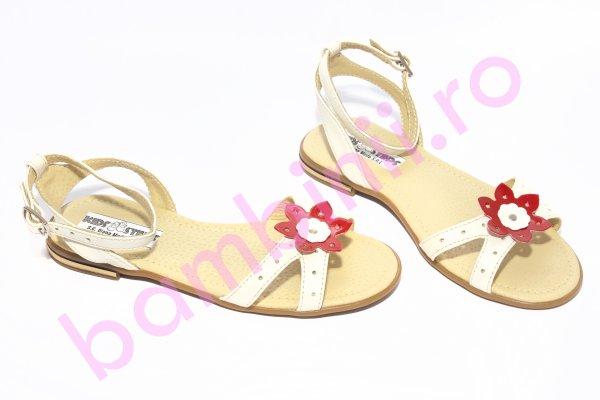 Sandale fete piele 1321 alb rosu 26-36