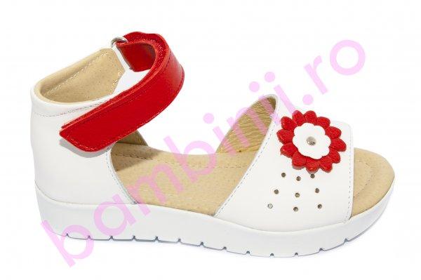 Sandale fete 1415 alb rosu 26-30