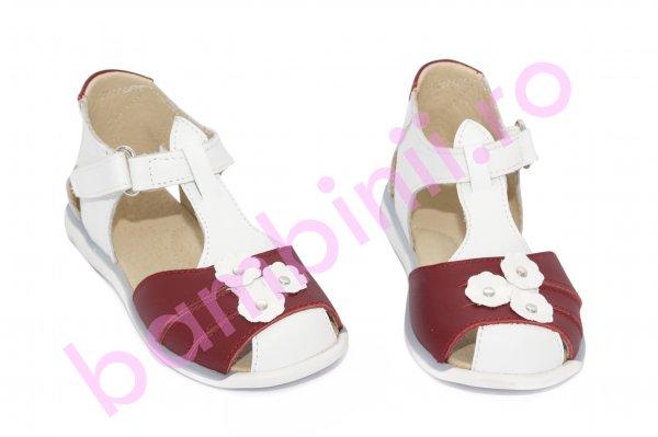 Sandale fete 574 alb bordo flori 18-25